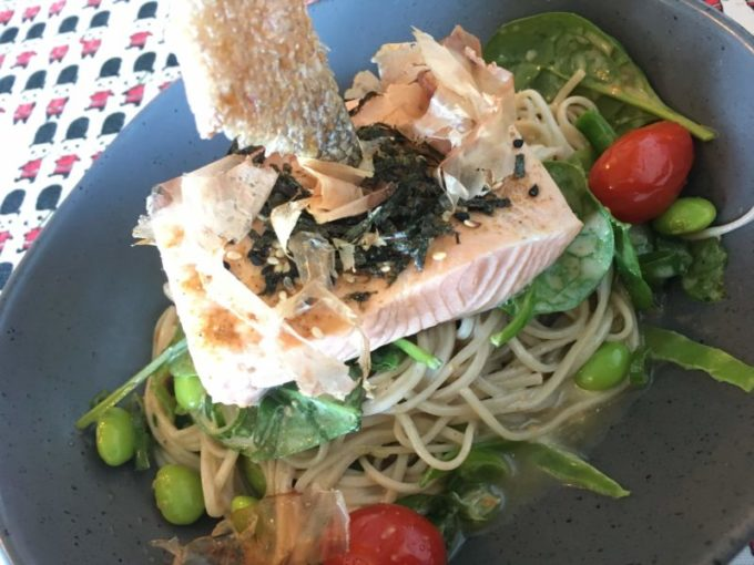 Poached Marlborough Salmon, Soba Noodle Salad, Soy Beans, SnowPeas, Sesame, Spring Onion