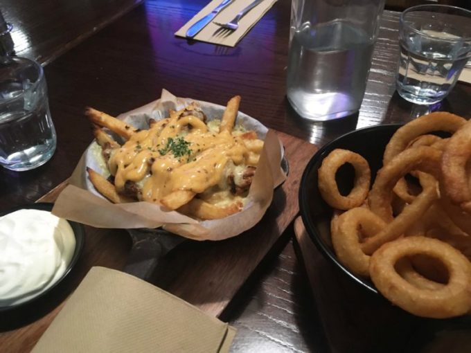 Loaded Fries and Onion Rings